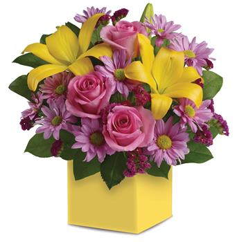 Serenade. Description: A joyous surprise, this bright, beautiful box arrangement of pink roses, golden lilies and lavender daisies is sure to please.