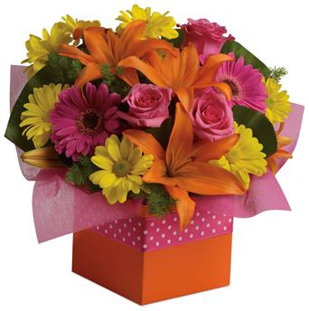 Starburst Splash. Description: Joyful moments call for happy flowers! This box of blooms does the trick with orange lilies, pink roses, yellow daisies and hot pink gerberas.