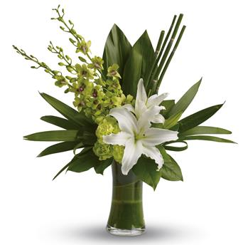 Splendour. Description: The graceful beauty of white lilies and opulent orchids is highlighted with an artistic, emerald-green backdrop of tropical leaves presented in a leaf lined vase.
