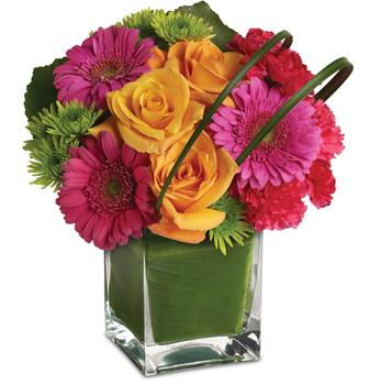 Party Girl. Description: It is party time! And this ravishingly radiant array of orange roses and hot pink favourites presented in a leaf lined vase, is ready to get the show on the road.