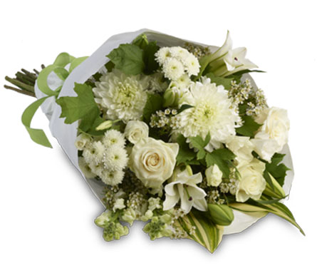 Marlee. Description: A simply stylish bouquet of all white flowers representing purity and innocence beautifully accented with seasonal green foliage