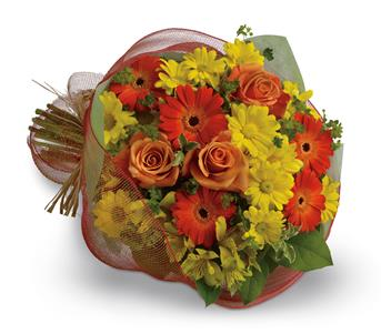 Thanks a Million. Description: Say thank you with a cheerful bouquet of bright orange gerberas and roses paired with alstroemeria and daisies in shades of yellow.