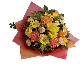 Playful Posies. Description: Tickle their fancy with this playful mix of yellow daisies,pink carnations and peach roses.