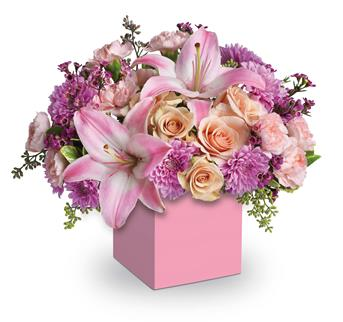 Wonderful. Description: Perfectly peach spray roses, asiatic lilies, carnations and spray chrysanthemums fill this cute mini box.