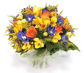 Sweet Treasure. Description: Brighten someones day with this colourful posy-style bouquet of freesias, solidaster, alstroemeria and roses.
