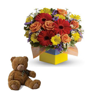 Garden Spectacle. Description: You will want to put this colourful arrangement on your hit parade of gifts to send. Bold primary colours and a perfect mix of flowers make it great for everyone.