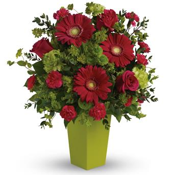Ravishing Pink. Description: A gorgeously chic gift for any occasion, this perky hot pink and green arrangement is pure fun. So much beauty for such a reasonable price, it is the perfect choice for birthday, love and romance, any happy occasion.