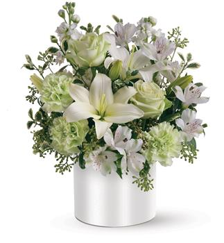 Sea Spray. Description: As refreshing as a sea breeze, this fabulously fresh arrangement of white and green flowers, makes a very cool gift. Sweetly subtle, yet also exciting, it is a visual delight.