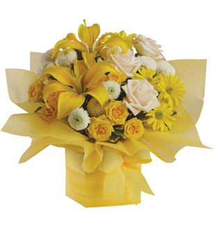 Sweet Sunshine. Description: As refreshing as lemon sherbet, this sunny array of flowers in a yellow gift box tied with a matching ribbon makes a perfect gift for someone with taste. They will certainly admire yours.