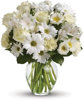 Purest Intentions. Description: For a gift of pure joy, send snowy white flowers in a classic clear glass vase. This lovely arrangement is perfect for just about any occasion, from birthday and anniversary to get well and new baby. They will adore it.