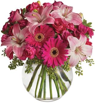Pink Me Up. Description: Youthful. Graceful. Beautiful. Whether you want this gorgeous pink vase arrangement to say Happy Anniversary or Happy Any Day, you can be sure the day it arrives will be brighter for anyone lucky enough to receive it.