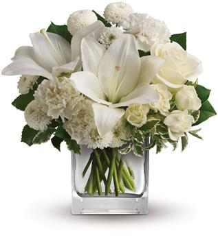 Starlit Kisses. Description: Wish upon a star, but seal the deal with the pure white perfection of this luxurious cube arrangement. These fresh and fragrant flowers will make you the star of her heart!