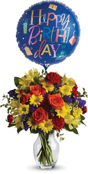 Fly High. Description: Make birthday spirits soar by sending this fabulously fun vase arrangement and balloon. Bright primary colours make it perfect for guys and gals.