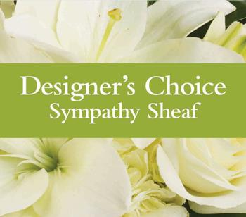 Sympathy Sheaf. Description: Can not decide on what to send? The Designers Choice Sympathy Sheaf is a one-of-a-kind collection of the designers freshest flowers.