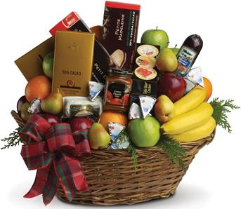 Ultimate Christmas Basket. Description: Packed with fresh fruit, gourmet chocolates, soft cheeses, cabanossi, cookies, crackers...everything a foodie could hope for.