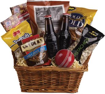 Cricket Lover. Description: Peanuts, pistachios, pretzels, beer and even a cricket ball are teamed up in this nibbles basket. The perfect gift for the male in your family!