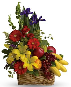 Fruit Dreams. Description: A healthy gift for all the family! A fruit and flower combo of seasonal fruit and flowers.