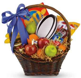 Footy Fever . Description: Celebrate football with a favourite friend, family or colleague. Send a basket of game-time munchies, including fresh fruit, nuts, salami, salsa, and much more...plus a real football!
