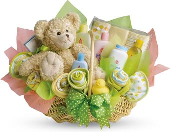 Bouncy Baby. Description: What better way to surprise a new mother than with this lovely baby basket.