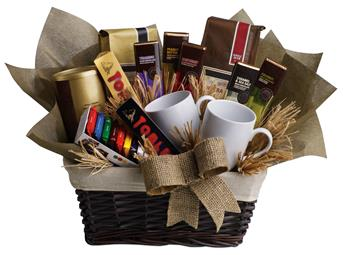 Cafe Latte. Description: When you want to send your thoughts in a grande way, send this basket filled with chocolate, tea and coffee. Nothing is grander.