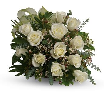 Dreamy White Dozen. Description: This beautiful flower bouquet of dreamy white roses and graceful greens delivers innocence and elegance. Perfect for neighbours, corporate partners and events.