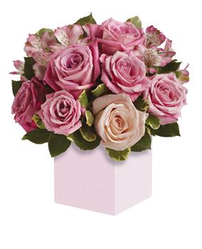 Indulgence. Description: Exquisite rose box arrangement featuring soft, romantic shades of pink. A versatile choice for an anniversary or anytime you want to send your very best.