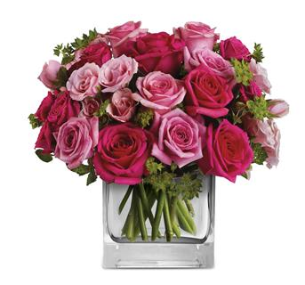 Fairytale Ending. Description: This exquisite arrangement of light pink and hot pink roses, is a gift that will long be remembered.