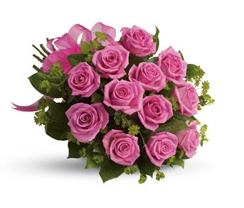 Blushing Dozen. Description: Think of the thanks you will get when a bouquet of vibrant hot pink roses is delivered.