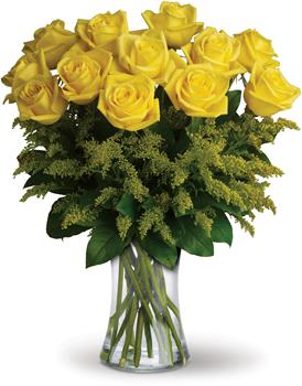 Rosy Glow Dozen. Description: What a bright idea! Send a summery treat to someone special with this cheerful bouquet of one dozen yellow roses in complementing vase.