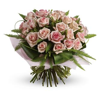 Love You Bunches. Description: What a beautiful bunch! Punch up the romance with this lush,lovely bouquet of whisper-pink roses and delicate greenery.