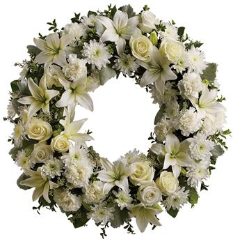Serenity. Description: A ring of fragrant, bright white blossoms will create a serene display at any service. This classic wreath is a thoughtful expression of sympathy and admiration.