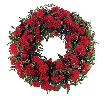 Red Regards. Description: This simple, yet stylish wreath shows the depth of your love and support.