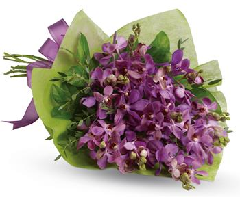 Purple Perfection. Description: This eye-catching bouquet of lavender orchids is an eloquent expression of your affection.