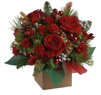 Christmas Mystic. Description: The splendour of the season is beautifully captured in this traditional arrangement. The mix of blossoms, greens and textures is a brilliant way to say Merry Christmas!