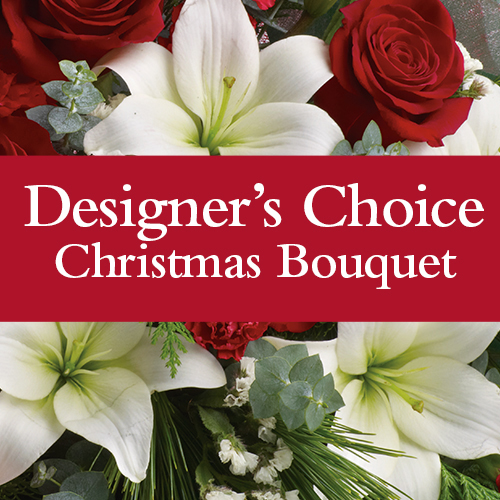 Designers choice Christmas Bouquet. Description: Our florist will design a stunning Christmas bouquet for you, this is the most popular option.