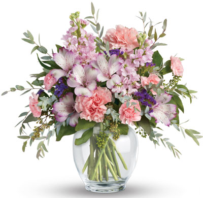 Pretty in Pastel. Description: Oh so pretty! When you want to whisper your wishes for a wonderful occasion, send this pale pastel bouquet of roses alstroemeria, carnations and stock.